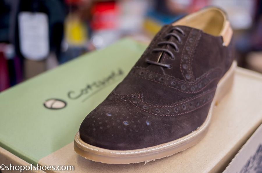 Cotswold modern suede Leather Brogue in deep brown with comfort footbed and flexible grizzled rubber sole.